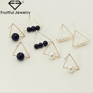 2018 New Design Fashion Earring KC Gold Plating Earring White Black Triangle Pearl Earring