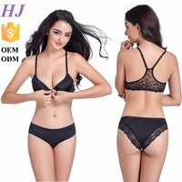 Fashion new hot style sexy lace hollow-out bra and panty set