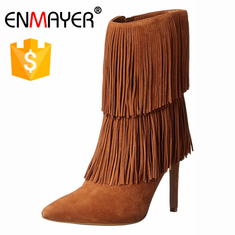 2017 new brand fashion slouch commuter womens <strong>boots</strong> tassel high heel <strong>boots</strong>