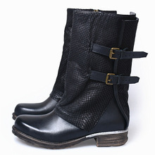 Personal Crack High Quality Keep Warm Winter Knight Boots Low Heels Cow Leather Soft Sole Comfortable Women Boots 35-41