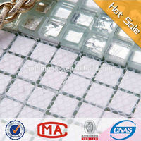 JY 15x15x8mm sliver foil square white gold glass mosaic Dubai tiles for bathroom floor