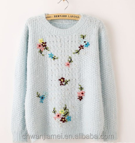 loose knit sweater for wamen embroidered sweater