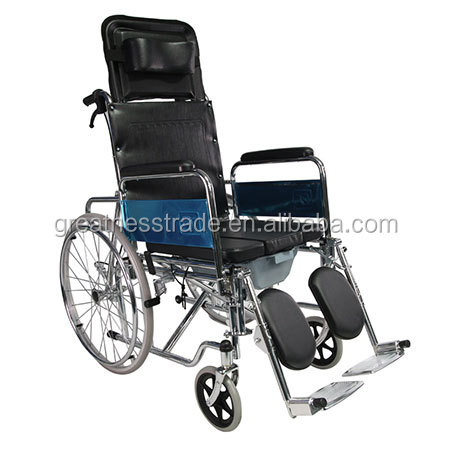 2017 most popula GT02608GC high back lightweight steel frame commode manual wheelchair with toilet for elderly
