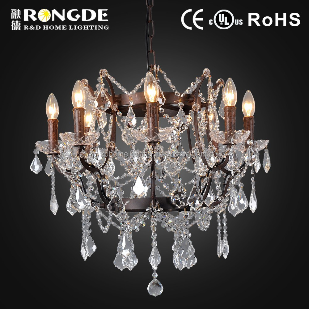 Classical Style cheap crystal chandeliers iron in old rustic color