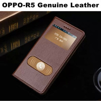 Wholesale Cell Phone Case Wooden Pattern For Oppo R5 Genuine Leather Case,Double Window View Mobile Phone Case For Oppo R5