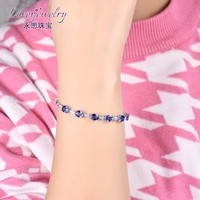 Oval Cut Natural Tanzanite Solid 18K White Gold Diamond Bracelet Photos