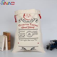 Custom wholesale cotton canvas large santa sack big Christmas gift bag