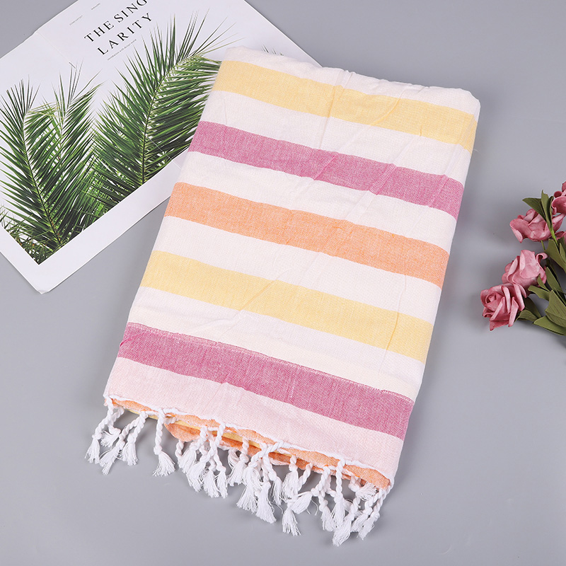 Fouta Turkish Tassel Hammam Peshtemal Beach Bath Towels 100% <strong>Cotton</strong> 100*180cm with double layer online shopping