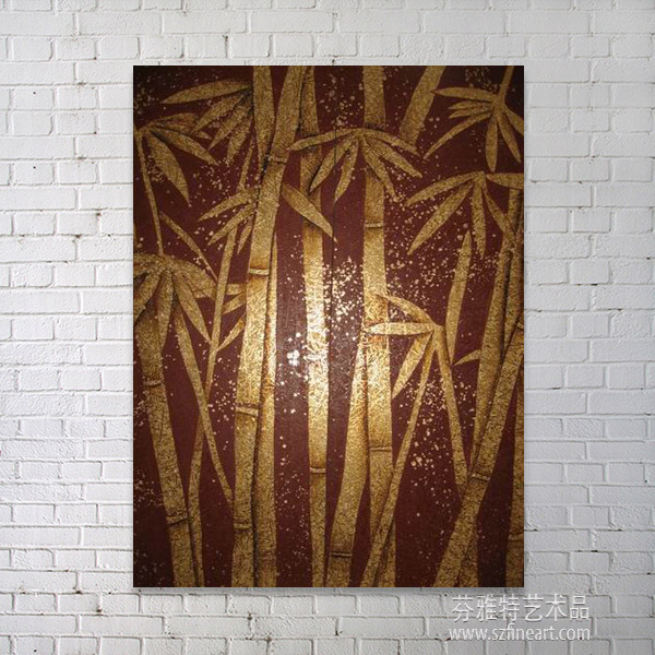 gold bamboo shiny abstract oil painting