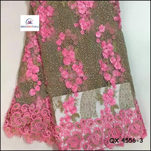 Alibaba Nice material for dress/Pink chemical net lace fabric with stones and beaded