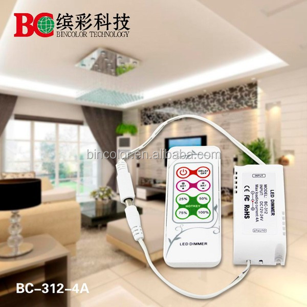 Bincolor DC12-24v 4A Smart mini LED Dimmer RF remote wireless touch control single color led dimmer