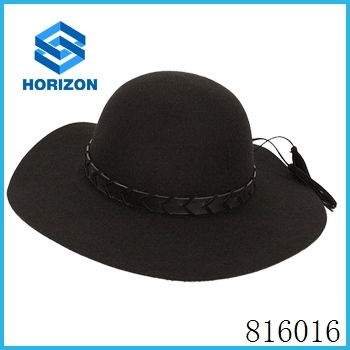 Floppy hat with leather decoration 100% wool elegant ladies wool felt black floppy hat