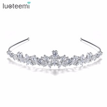 LUOTEEMI Luxury Princess Queen Pageant Clear CZ Flower Headband for Bridal Crystal Tiara <strong>Crowns</strong> Wedding Hair Accessories