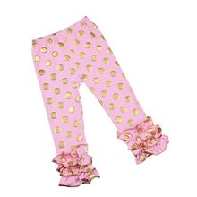 Factory price gold polka dots baby leggings cute design baby icing ruffle pants with high quality ruffle pants outfit 2016