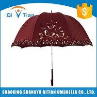 Top sale guaranteed quality red hand craft made lace umbrella