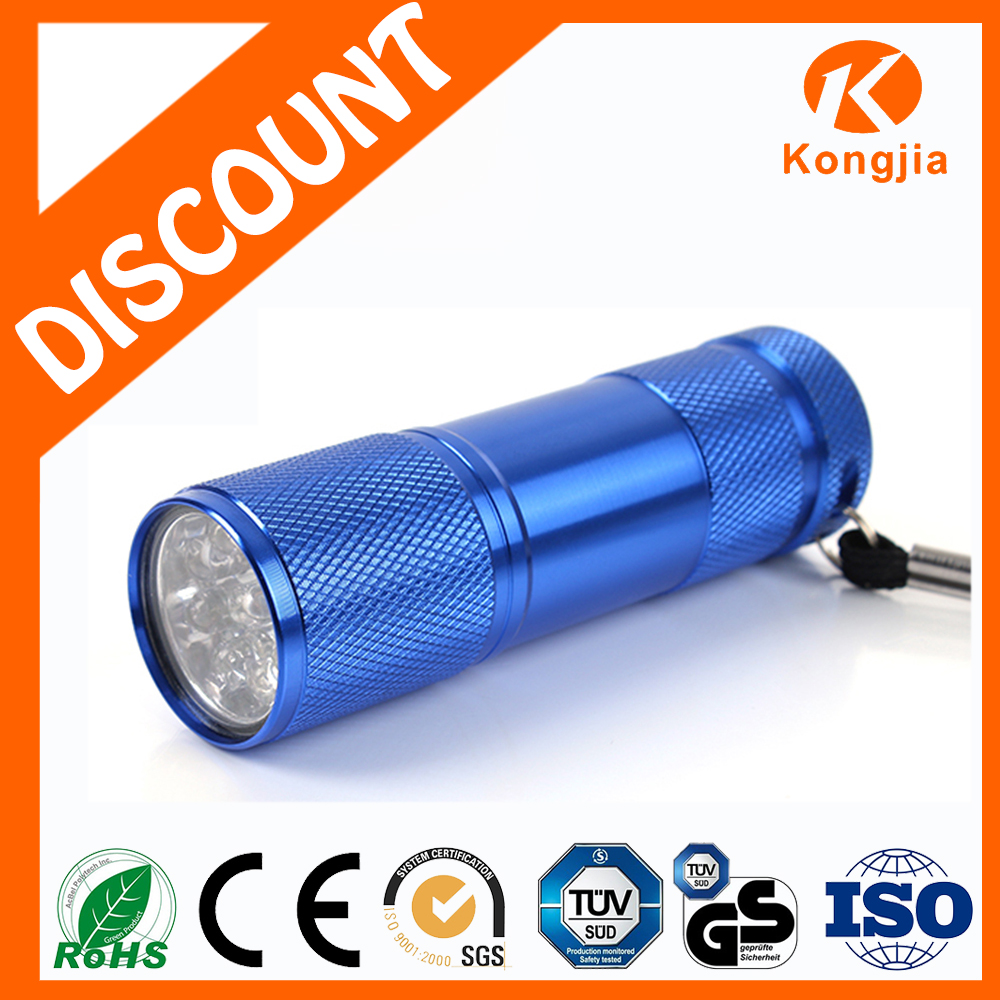 Colorful Aluminium Promotional Gift 50 Lumen 9 Mini Led The Flashlight