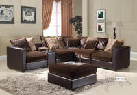 Living Room Leather and Fabric dirt resistant Classic L Shaped Sofa with Cushion (FOH-3656)