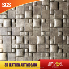 Embossed leather mosaic DIY wall covering idea