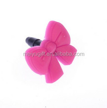 Pink lovely bowknot wholesale cell phone dust plugs