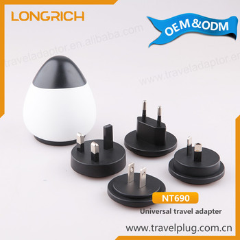Unique egg design features 4 different plug types worldwide Travel Adapter