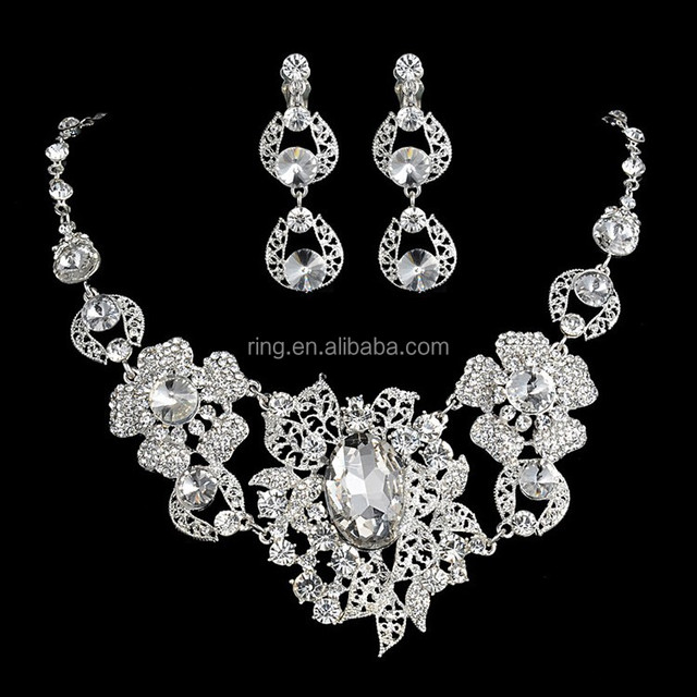 New Fashion Big Stone Floral Crystal Bridal Wedding Jewelry Sets Women Luxury Necklace Earrings Tiara Crown Set Party Dress