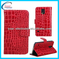 hot new products 2014 for samsung galaxy s5 crocodile skin leather case