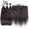 High Quality Cuticle Hair Extensions Straight Brazilian Virgin Remy Hair Bundles With Frontal Lace Closure