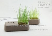 fashionable 2 in 1 computer usb hub with plant card reader usb port