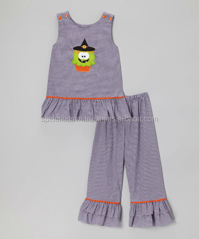 Purple Gingham Appliqued Witch Cupcake Top & Pants