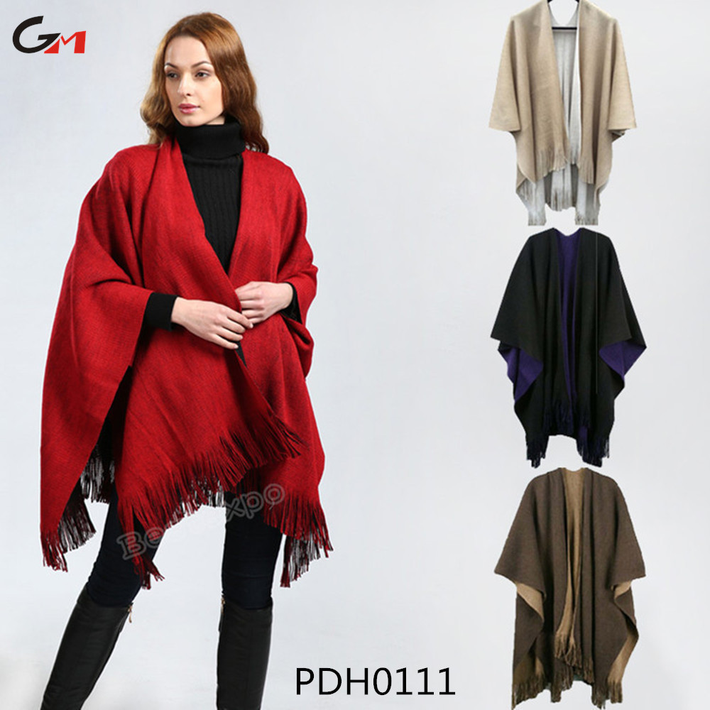 good quality women winter spring warm knitted sweater patterns crochet cashmere poncho shawl with big pockets