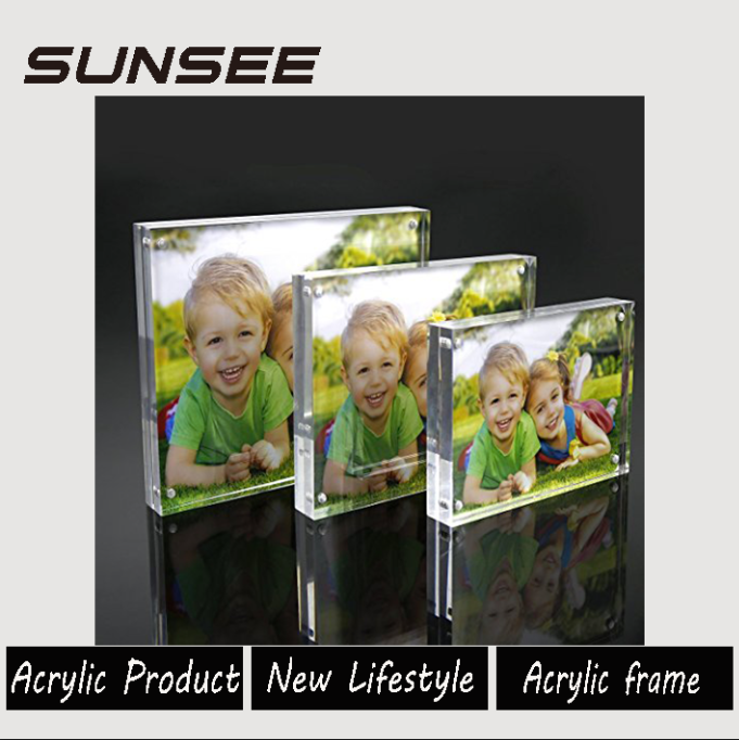 modern design customers' requirement clear acrylic magnetic photo frame