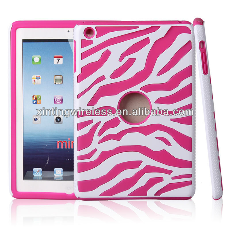 Fashionable PU Leather Zebra-stripe Cell Phone Case Cover For Ipad Mini Case