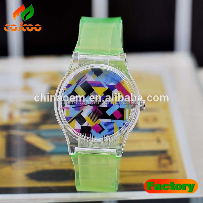 2015 DEM Custom Logo Kids Plastic Transparent Watches for Children