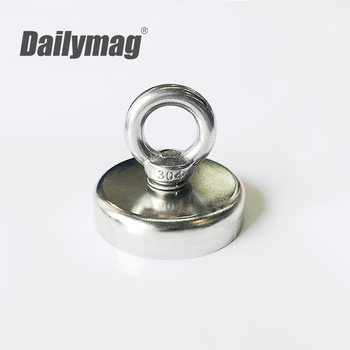 500Lbs pulling force 226kg pot fishing magnet /neodymium magnets for fishing with eye bolt
