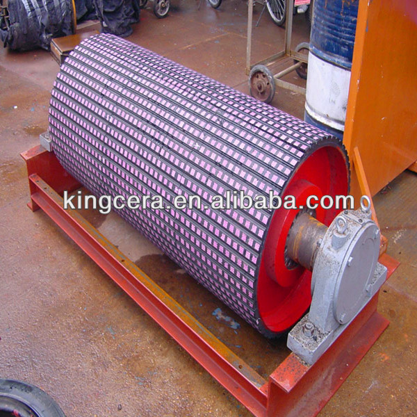 Erosion&acid resistant ceramic lagging rubber sheet for belt pulley