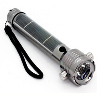 Solar Powered Flashlight with Hammer and Compass