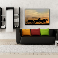 Cheap running horse animal wall canvas painting designs for living room