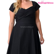 Paypal Accepted Black Plus Size Mad Style Sleeve Big Swing Dress FoR Women