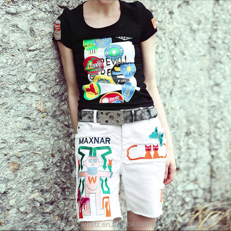 2016 Hot Sexy Short Sleeve All Over Sublimation Printing T shirt Women