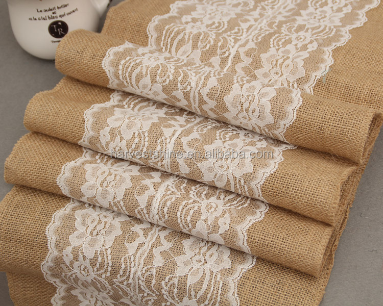 30*275cm Extra Large Burlap Tablecloth With Lace,Jute Burlap Trimming For Decoration