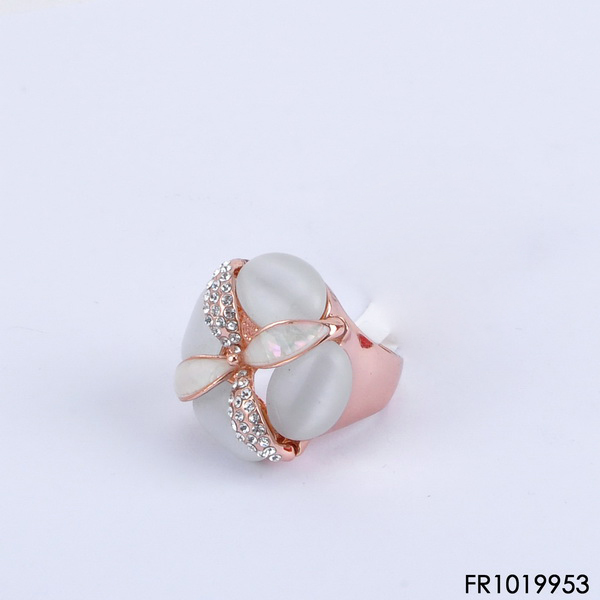 Oval Cream Opal Rose Gold Ring