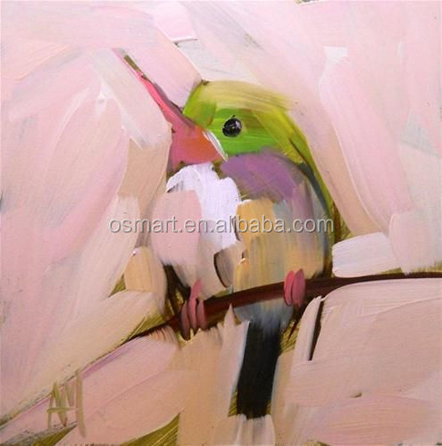 Green head white belly black feathers small mouth lovely bird on the branches oil painting in canvas