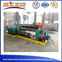 12mmx2000mm 3 roller steel sheet heavy duty plate rolling machine, aluminum cold cone mechanical metal roller with CE