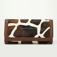 hotsale China factory manufacturer women trendy fashion PU leather celebrity giraffe -striped wallets G44-5HB