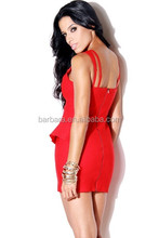 HOT 2016 new style Red Sexy sleeveless backless Criss-Cross Lotus leaf hem Fashion women bandage dress