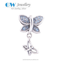 Fashion 925 Sterling Silver Clear CZ Pave Dragonfly Charms S034