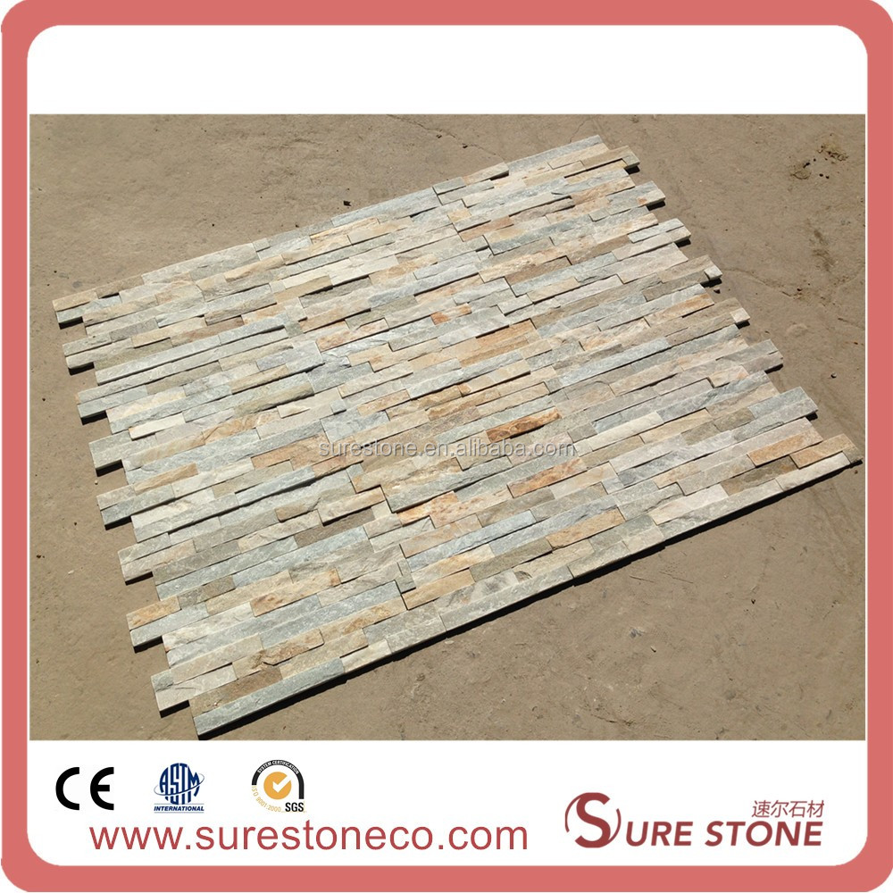 Decorative Yellow Slate Wall Paneling Stone