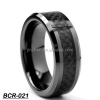 Couples Wedding Ring Set His and Hers Matching carbon fibre Tungsten Rings