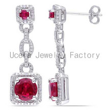 Sterling Silver Lab-Created Ruby and Diamond Accent Drop Earrings ear piercing earrings trendy jewelry