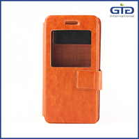 [GGIT]Slide Up Window Flip Case Universal PU Leather Wallet Mobile Phone Case